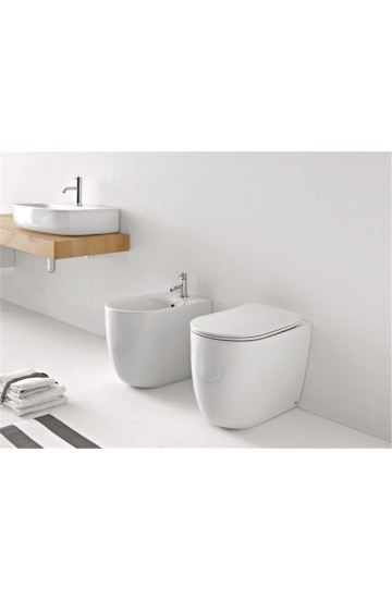 Sanitari filo muro in ceramica bianco vaso wc + bidet con sedile copriwc soft close Kerasan Nolita