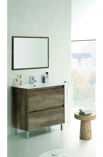 Mobile bagno in materiale maleminico  con base due cassetti con piedini,lavabo consolle in ceramica e specchio- Dakota Nordik cm 80x80x45