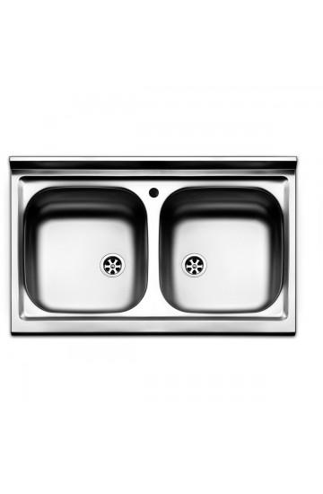 Lavello cucina in acciaio inox 80x50cm con due vasche - Apell