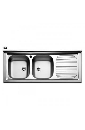 Lavello cucina in acciaio inox con due vaschette 120x50cm - Apell