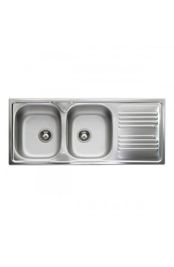 Lavello cucina in acciaio inox con due vasche 116x50cm - Apell