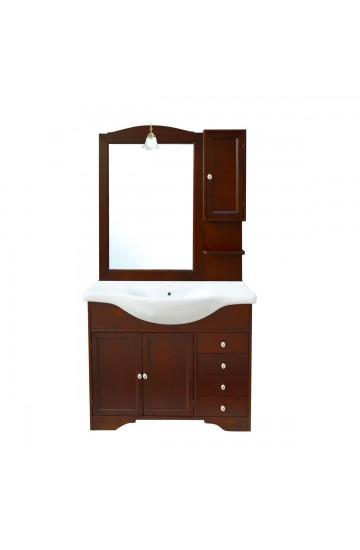Mobile bagno classico arte povera noce con lavabo e specchio illuminato - Monique 85cm