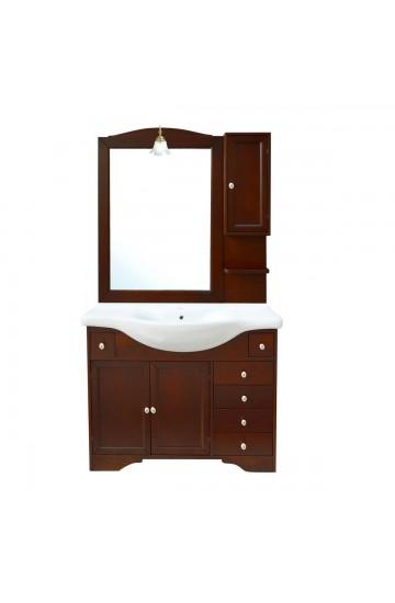 Mobile bagno classico arte povera noce con lavabo, specchio e pensile - Monique 105cm