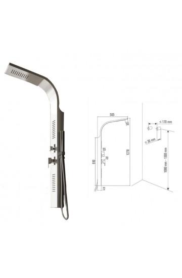 Colonna Doccia Idro 2 getti idromassaggio, soffione doccia e doccetta, miscelatore in acciaio - ROMA