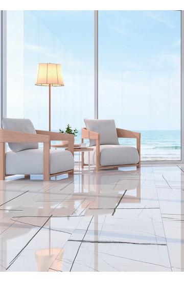 Pavimento e Rivestimento effetto Marmo in Gres Porcellanato Bianco 60x120 - EnergieKer Sahara Noir White