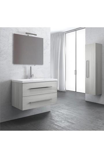Senna Composizione Bagno Sospesa Frassino tranche' da 90 cm con colonna e specchio illuminato