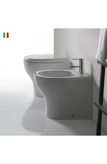 Sanitari filo muro ceramica bianco vaso wc + bidet con sedile copriwc Galassia Eden