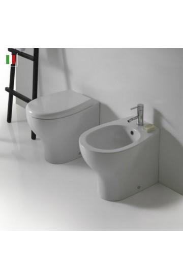 Sanitari filo muro in ceramica bianco vaso wc + bidet con sedile copriwc soft close Galassia Eden