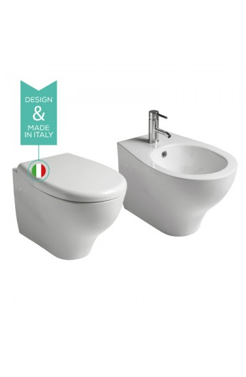 Sanitari sospesi senza brida in ceramica bianco vaso wc + bidet con sedile copriwc soft close Galassia Eden