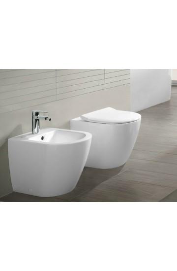 Serie Subway 2.0 WC a terra senza brida, Bidet in ceramica bianco completo di Sedile Rallentato Slim VILLEROY & BOCH