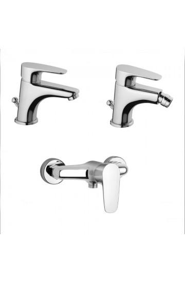 Rubinetti miscelatore lavabo e bidet con salterello e scarico automatico più miscelatore esterno doccia Paini Smart