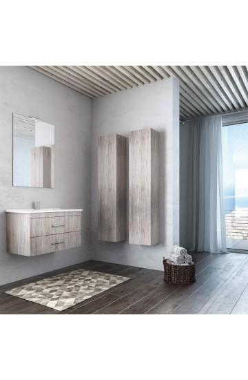 Smart Composizione Bagno Sospesa da 65 cm con colonna e specchio illuminato