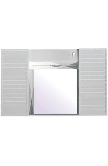 Specchio Bianco con due Antine con  mensola e luci -CR