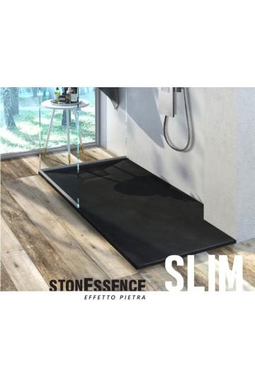 Piatto doccia effetto pietra colore nero 80x100 sagomabile Stone Essence Slim