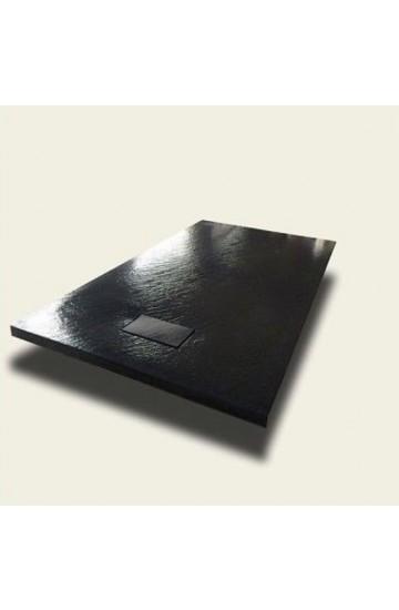 Piatto doccia effetto pietra colore nero 70x120 sagomabile Stone Essence Slim