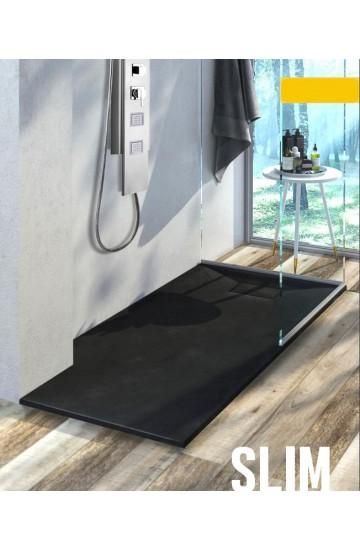 Piatto doccia effetto pietra colore nero 170x70 sagomabile Stone Essence Slim
