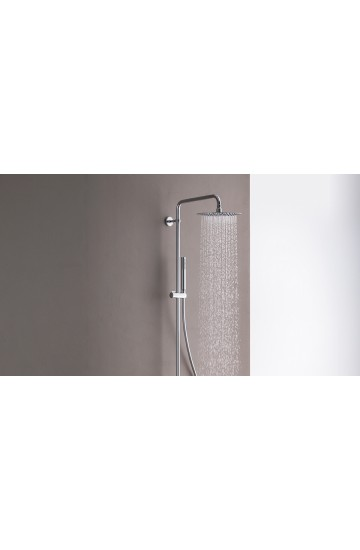 Colonna doccia con soffione slim anticalcare in acciaio 250x250mm con miscelatore termostatico - Cristina Rubinetteria
