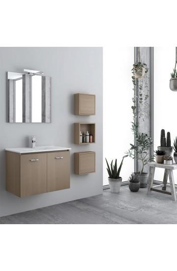 Toblino Composizione Bagno Sospesa da 60 cm con semicolonna e specchio illuminato