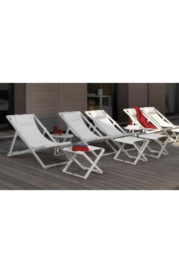 Sedia sdraio in alluminio e textilene, schienale regolabile, con poggiatesta imbottito - Talenti Touch