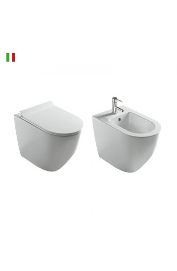 Sanitari filo muro in ceramica bianco vaso wc + bidet con sedile copriwc soft close Galassia Dream