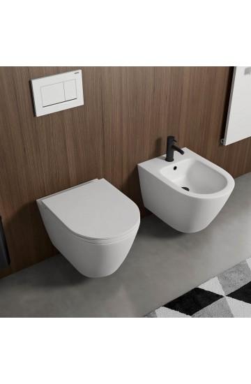 Sanitari sospesi senza brida in ceramica Bianco Matt vaso wc + bidet con sedile copriwc soft close Vitra Sento