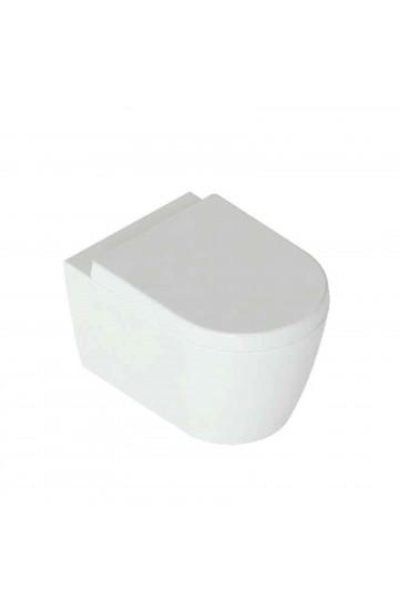 Vaso sospeso senza brida in ceramica bianco con copriwc soft close Foglia Medium Domus Falerii