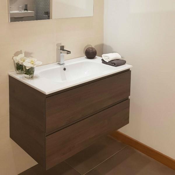 Composizione Bagno Compab Completa Di Base Porta Lavabo Da 85 Cm Lavabo In Ceramica Piu Specchio E Faretto