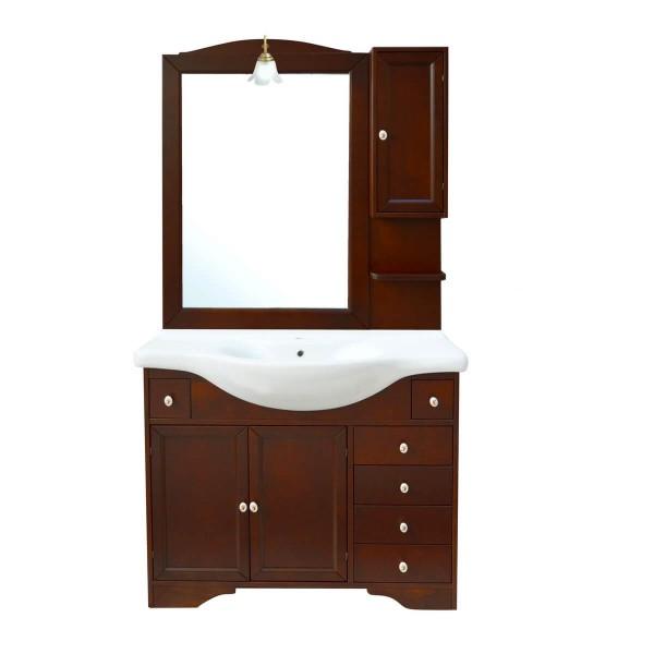 Specchio Bagno Arte Povera.Monique 105 Cm Mobile Bagno Classico Arte Povera Noce Con Lavabo Specchio E Pensile